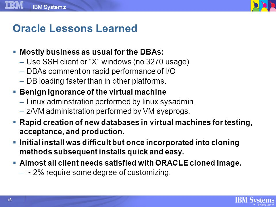 Oracle Lessons Learned