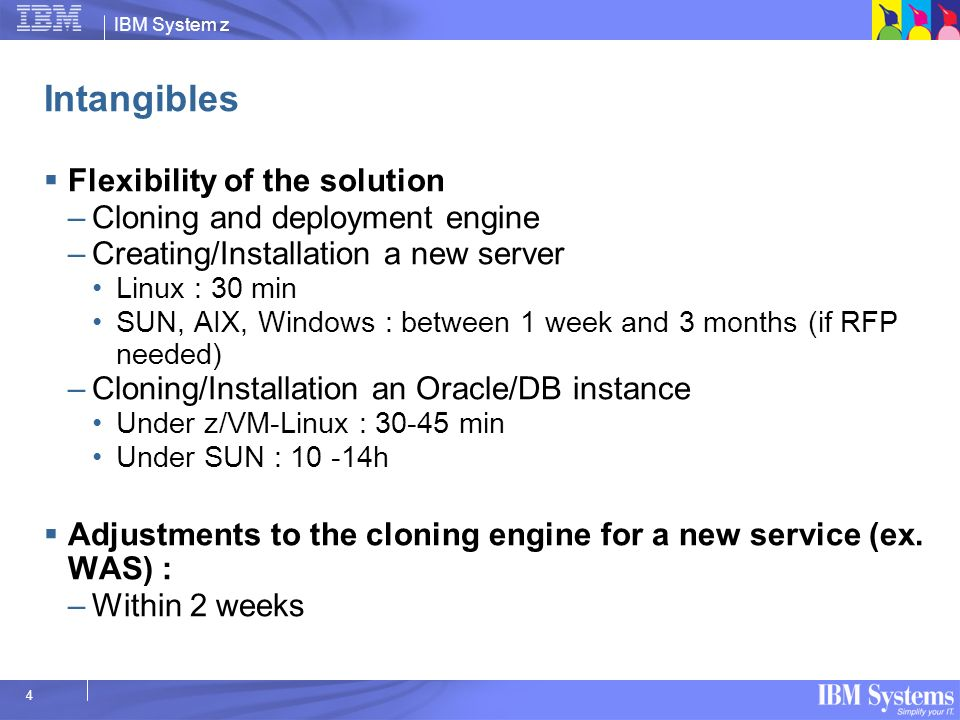 Intangibles Flexibility of the solution Cloning and deployment engine