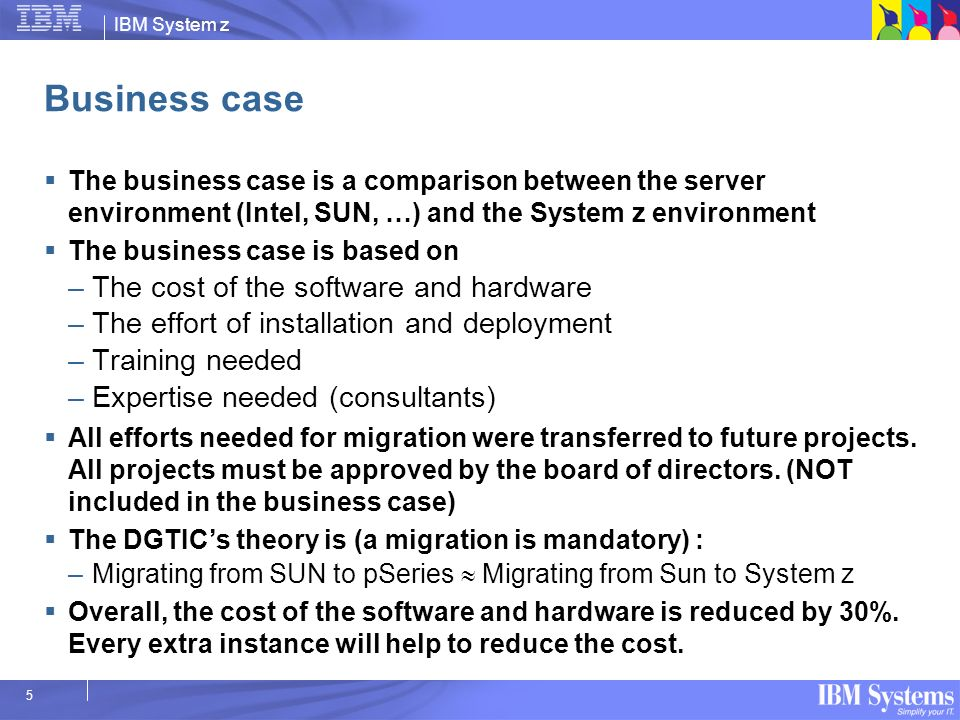 Business case The cost of the software and hardware