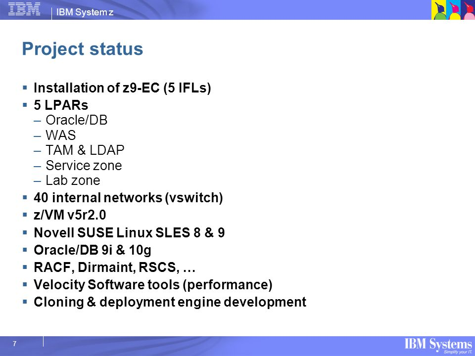 Project status Installation of z9-EC (5 IFLs) 5 LPARs Oracle/DB WAS