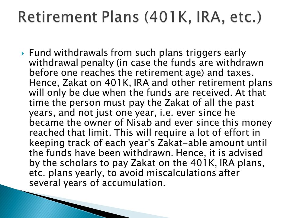 Retirement Plans (401K, IRA, etc.)
