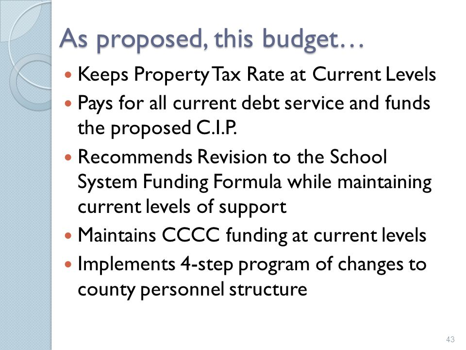 As proposed, this budget…