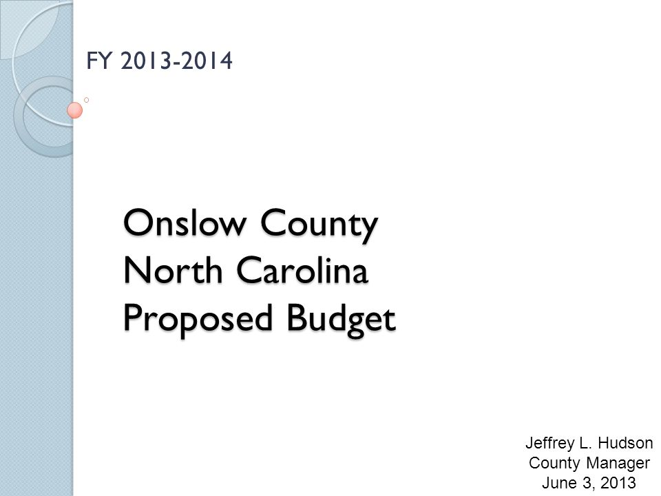 Onslow County North Carolina Proposed Budget