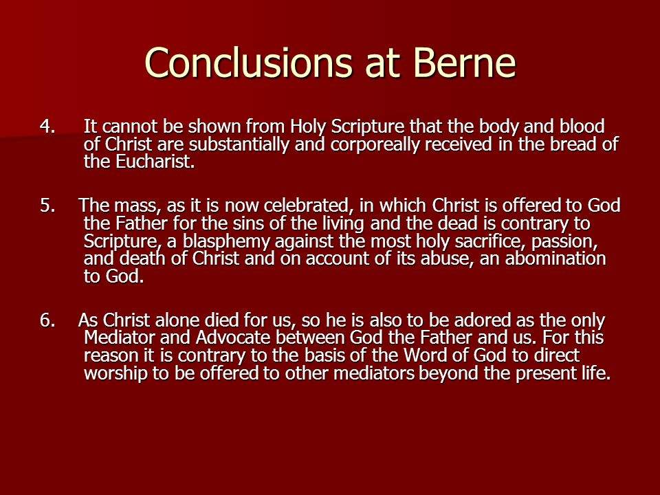 Conclusions at Berne