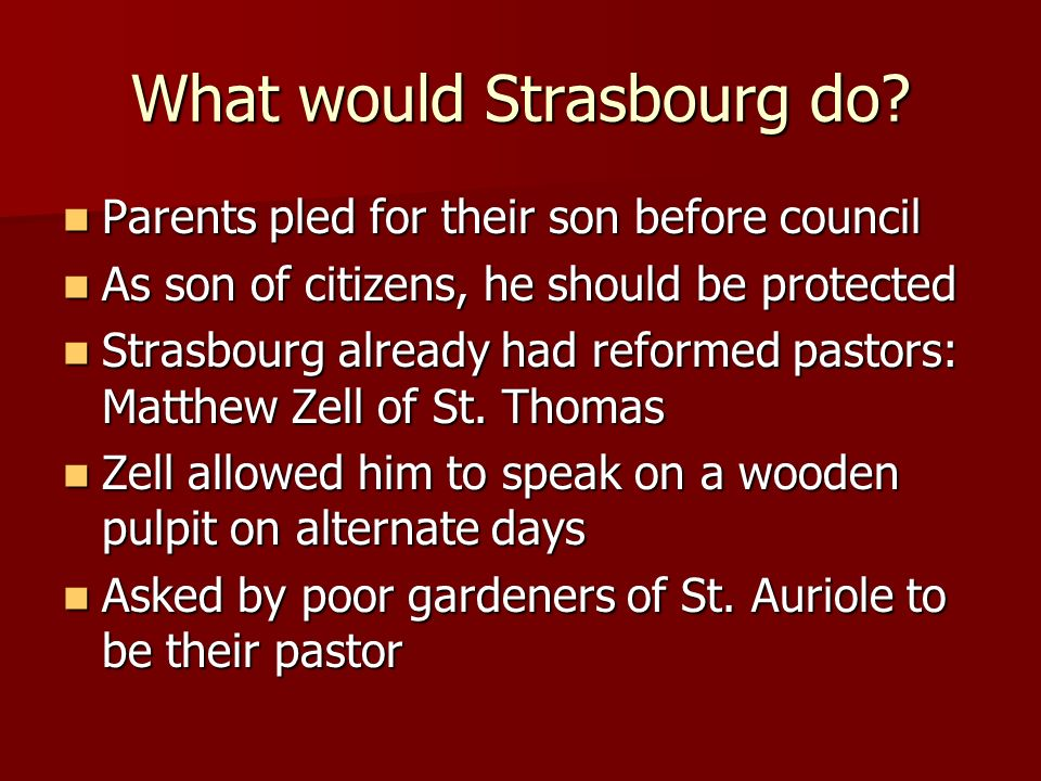 What would Strasbourg do