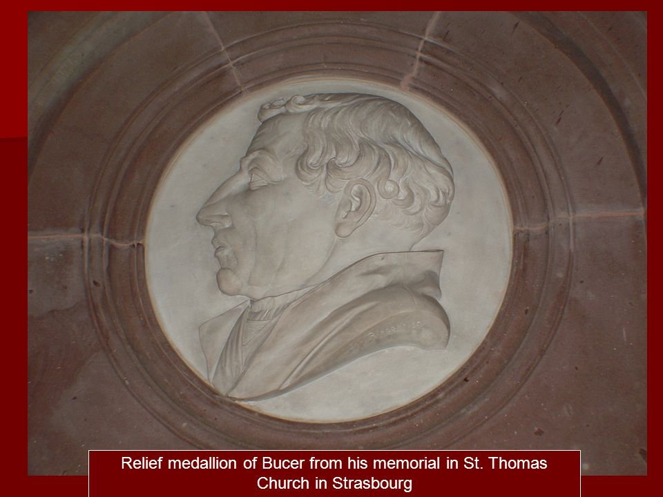 Relief medallion of Bucer from his memorial in St