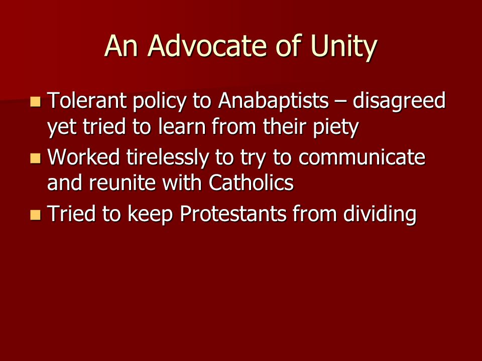 An Advocate of Unity Tolerant policy to Anabaptists – disagreed yet tried to learn from their piety.