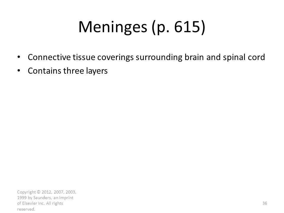 Meninges (p. 615) Connective tissue coverings surrounding brain and spinal cord. Contains three layers.