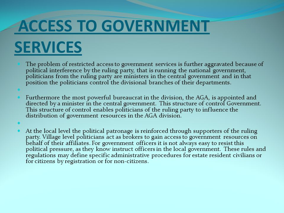 access to government services