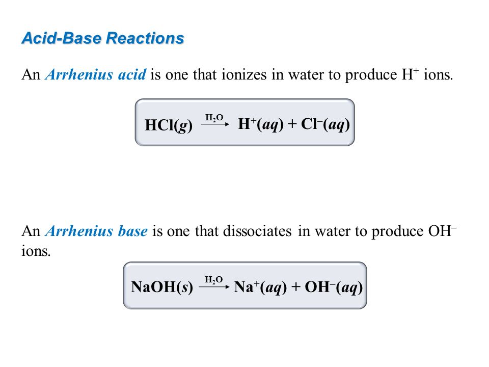 An Arrhenius acid is one that ionizes in water to produce H+ ions.