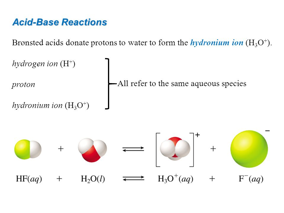 Acid-Base Reactions Brønsted acids donate protons to water to form the hydronium ion (H3O+). hydrogen ion (H+)
