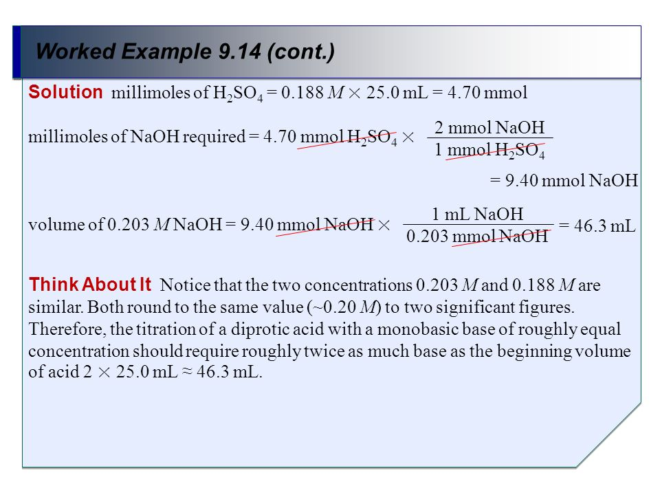 Worked Example 9.14 (cont.) Solution millimoles of H2SO4 = M × 25.0 mL = 4.70 mmol. millimoles of NaOH required = 4.70 mmol H2SO4 ×