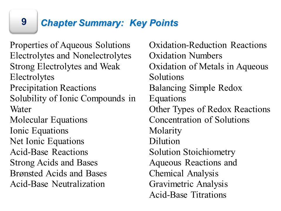 9 Chapter Summary: Key Points Properties of Aqueous Solutions