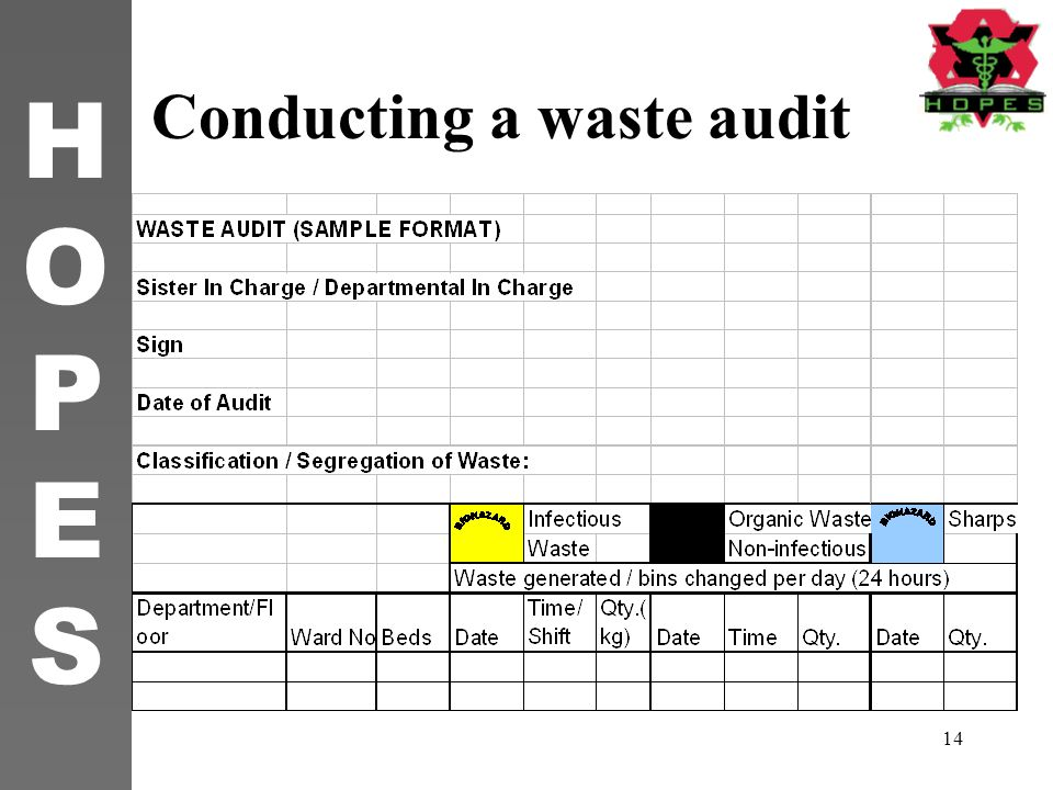 Conducting a waste audit