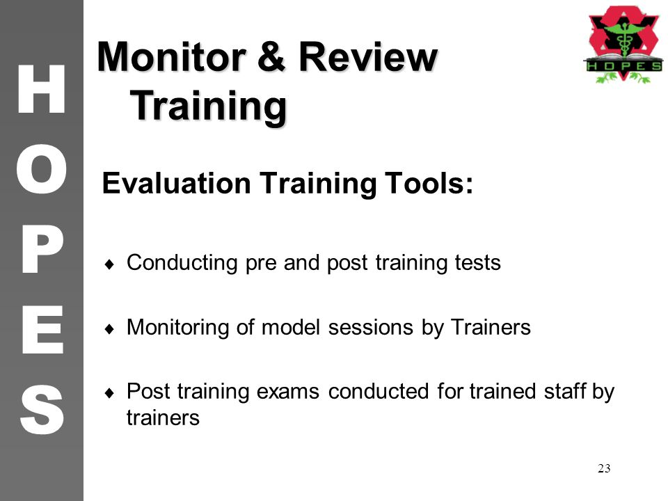 Monitor & Review Training