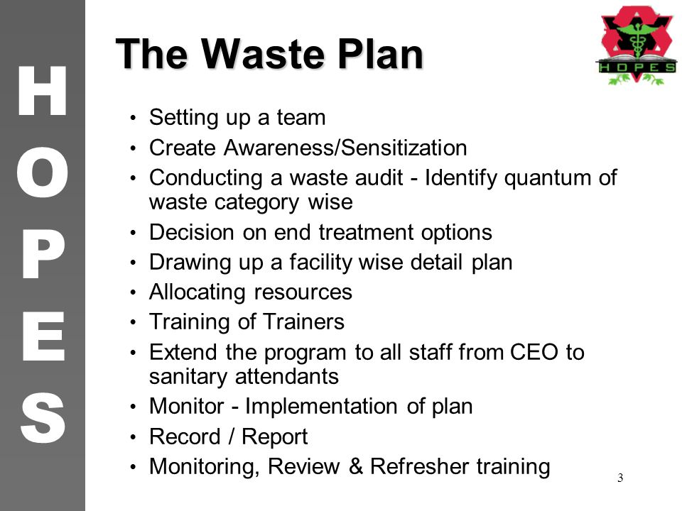 The Waste Plan Setting up a team Create Awareness/Sensitization
