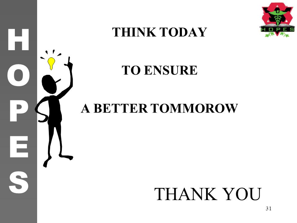 THINK TODAY TO ENSURE A BETTER TOMMOROW THANK YOU 11