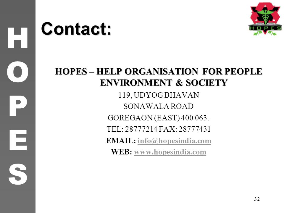 HOPES – HELP ORGANISATION FOR PEOPLE ENVIRONMENT & SOCIETY