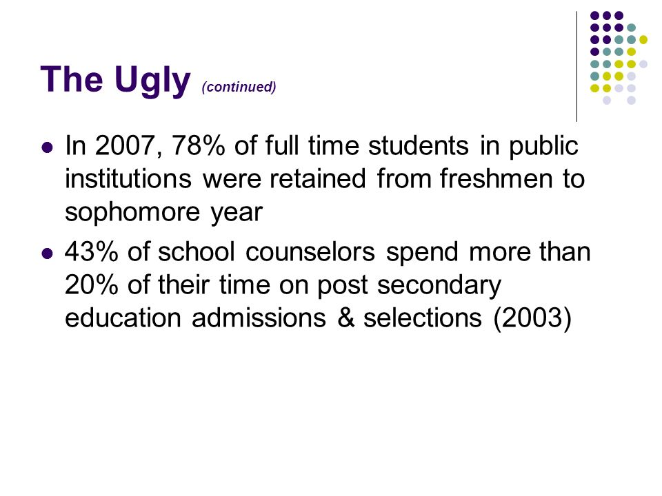 The Ugly (continued) In 2007, 78% of full time students in public institutions were retained from freshmen to sophomore year.