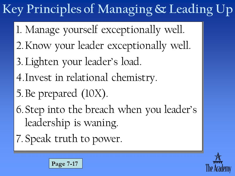 Key Principles of Managing & Leading Up