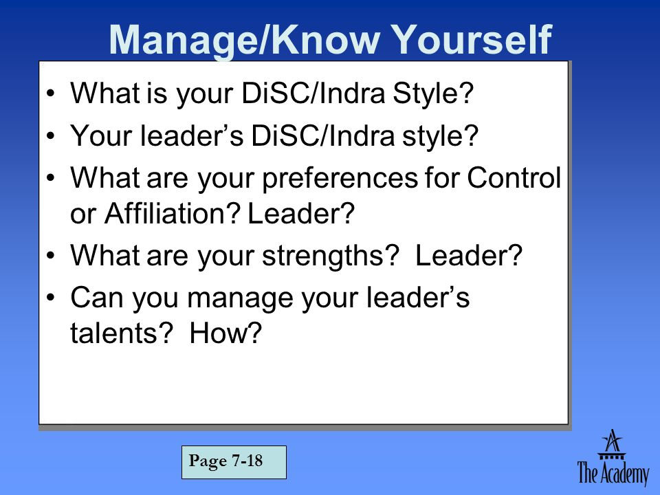 Manage/Know Yourself What is your DiSC/Indra Style