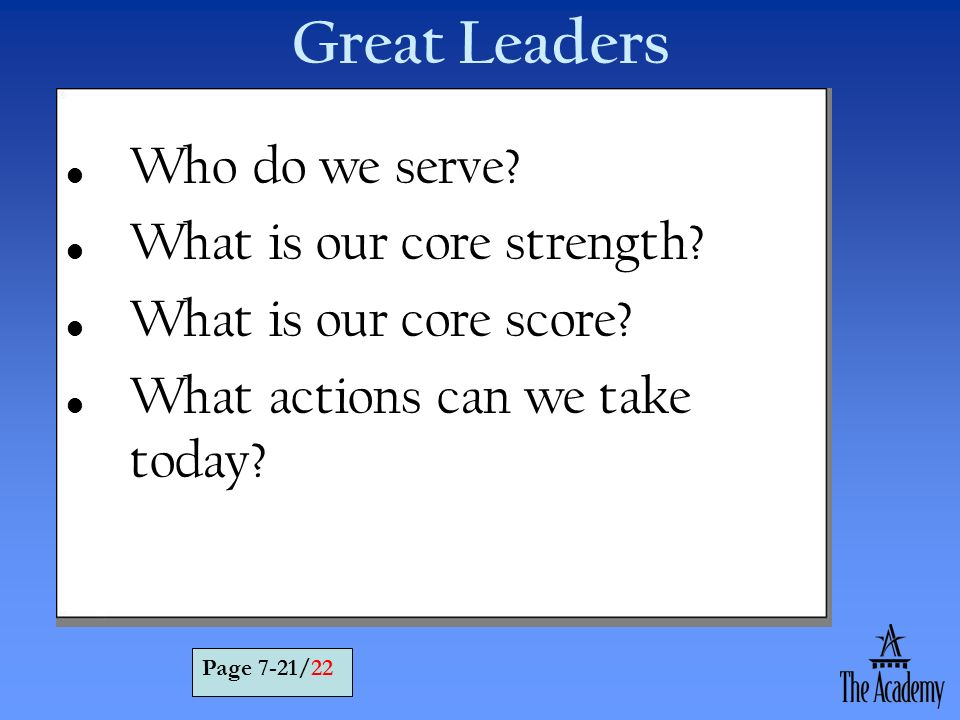 Great Leaders Who do we serve What is our core strength