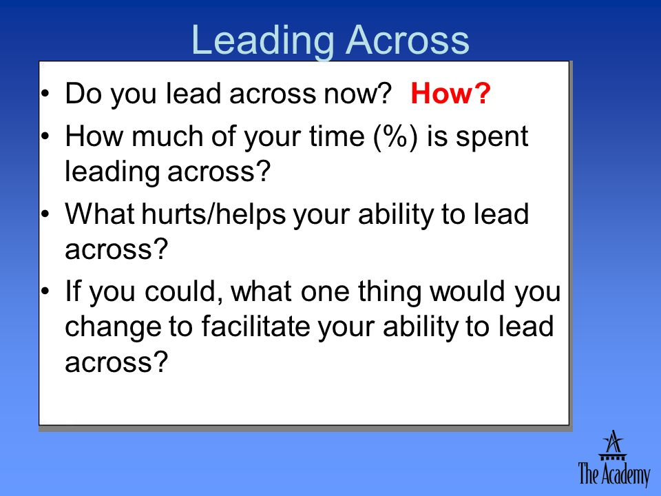 Leading Across Do you lead across now How