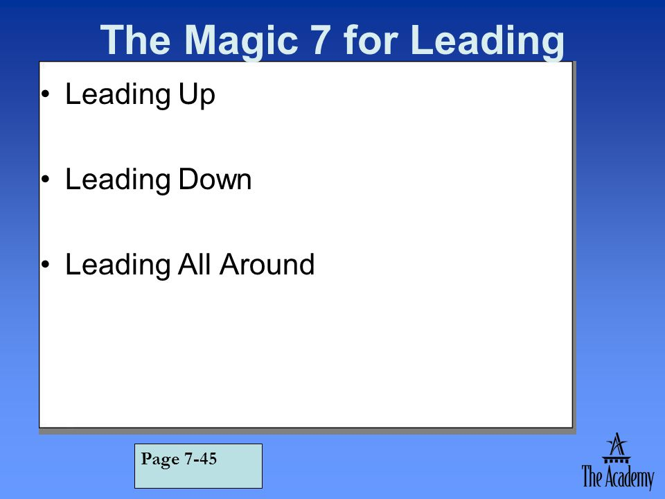The Magic 7 for Leading Leading Up Leading Down Leading All Around