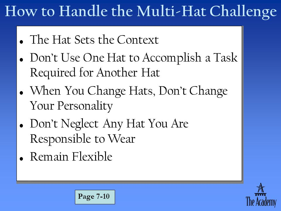 How to Handle the Multi-Hat Challenge