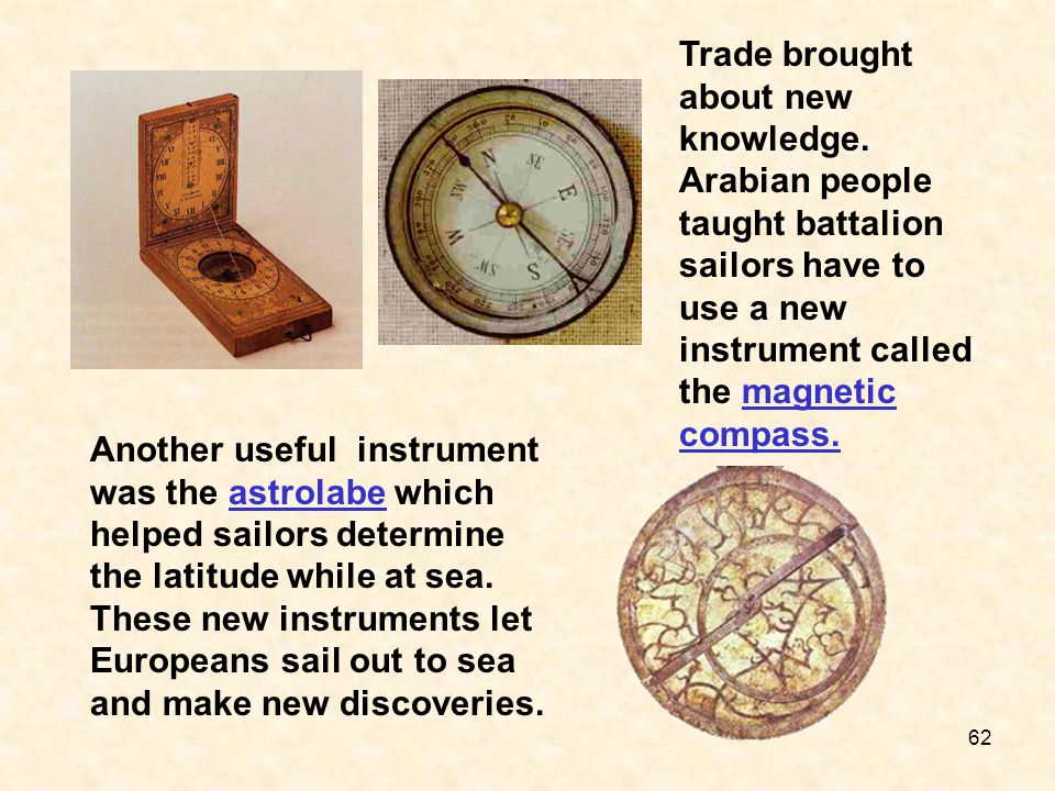 Trade brought about new knowledge