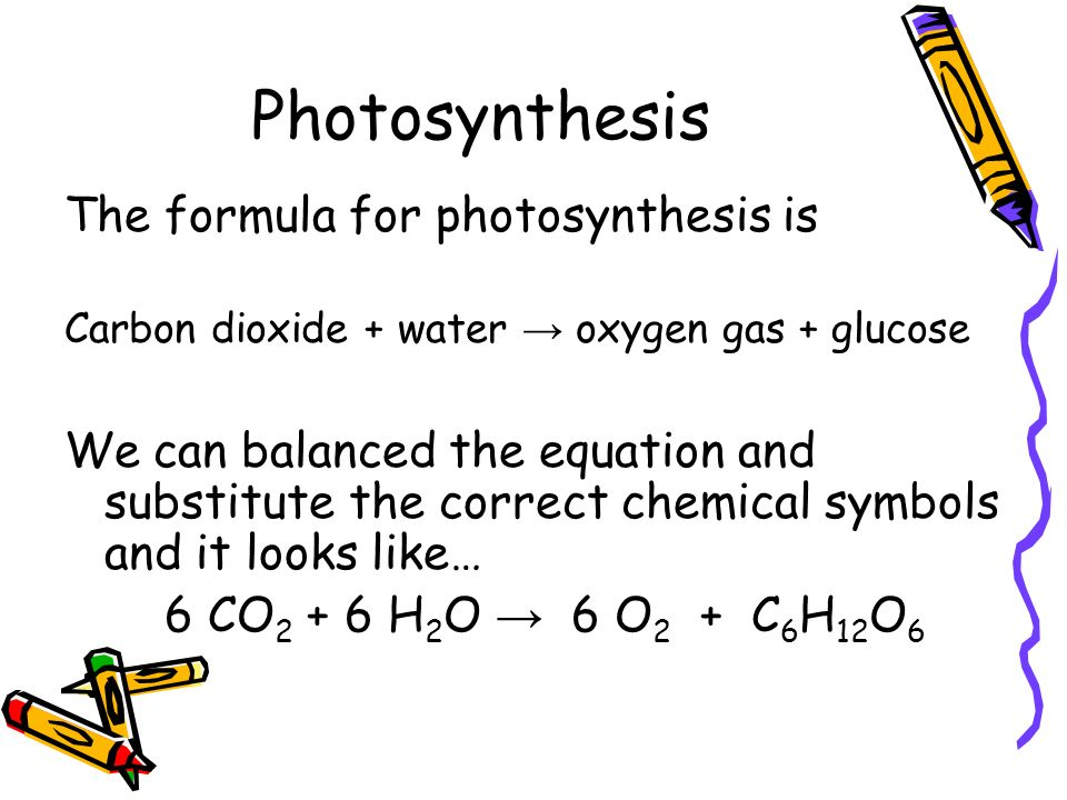 Photosynthesis The formula for photosynthesis is