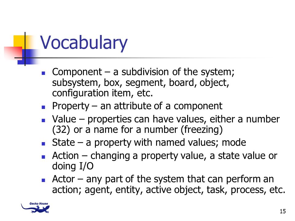 Vocabulary Component – a subdivision of the system; subsystem, box, segment, board, object, configuration item, etc.