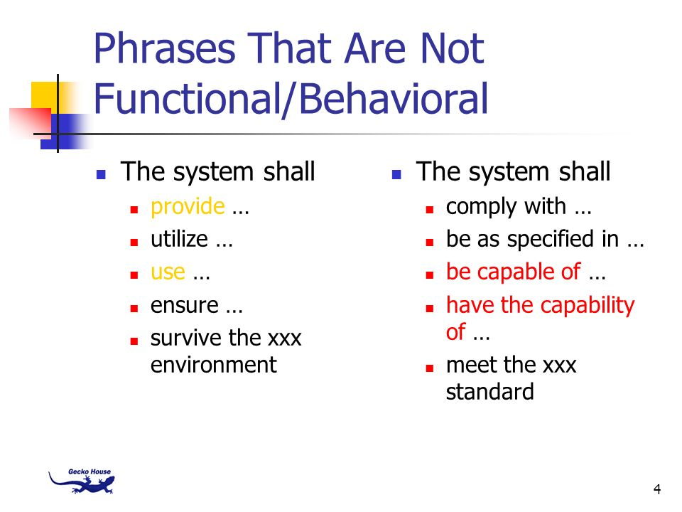 Phrases That Are Not Functional/Behavioral