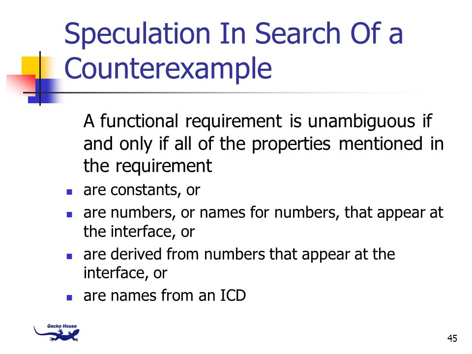 Speculation In Search Of a Counterexample