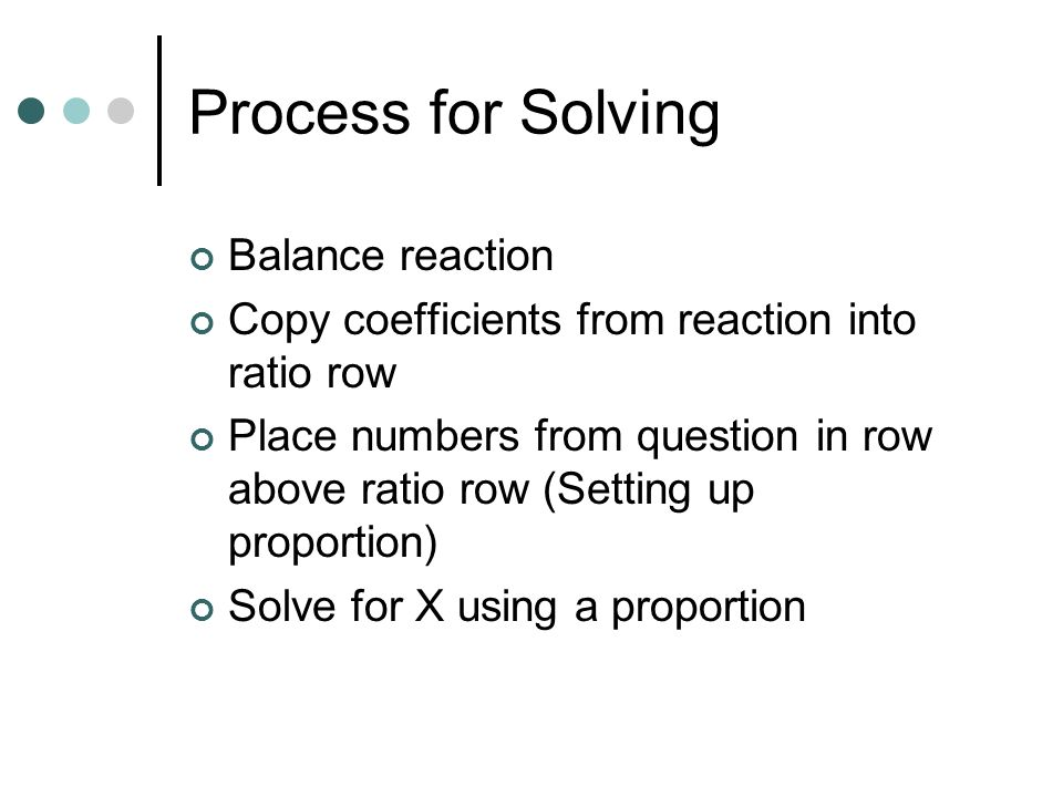 Process for Solving Balance reaction