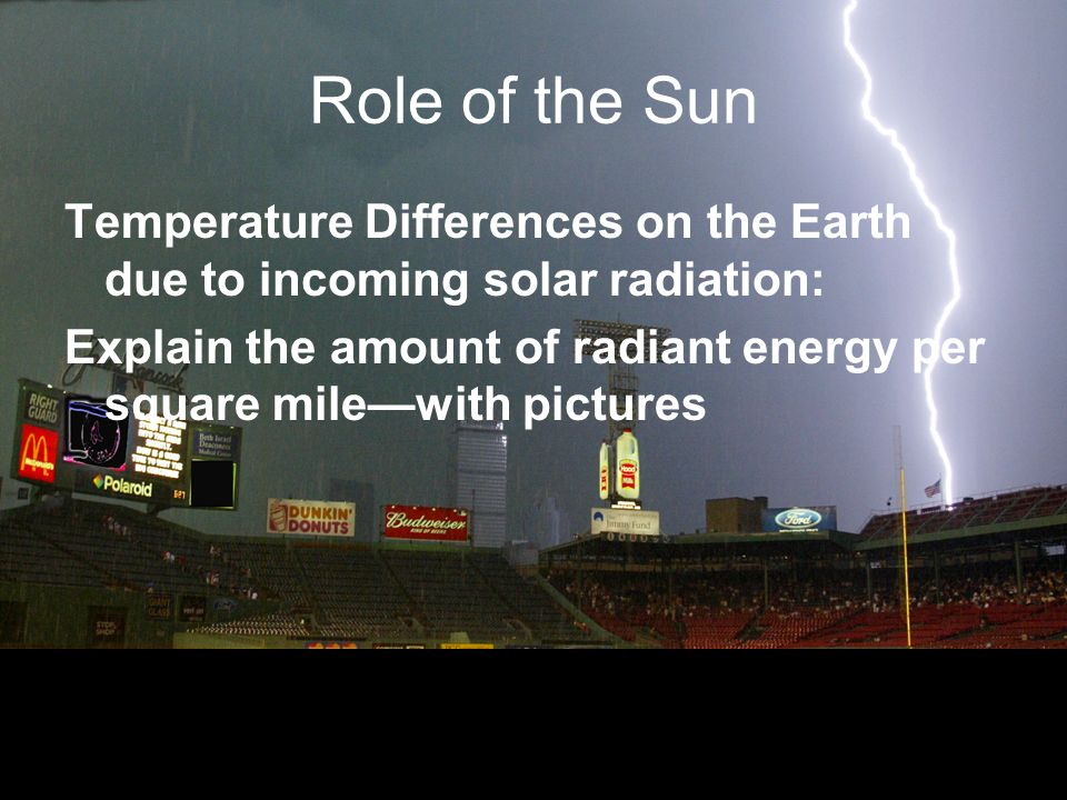 Role of the Sun Temperature Differences on the Earth due to incoming solar radiation: