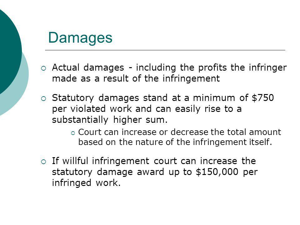 Damages Actual damages - including the profits the infringer made as a result of the infringement.