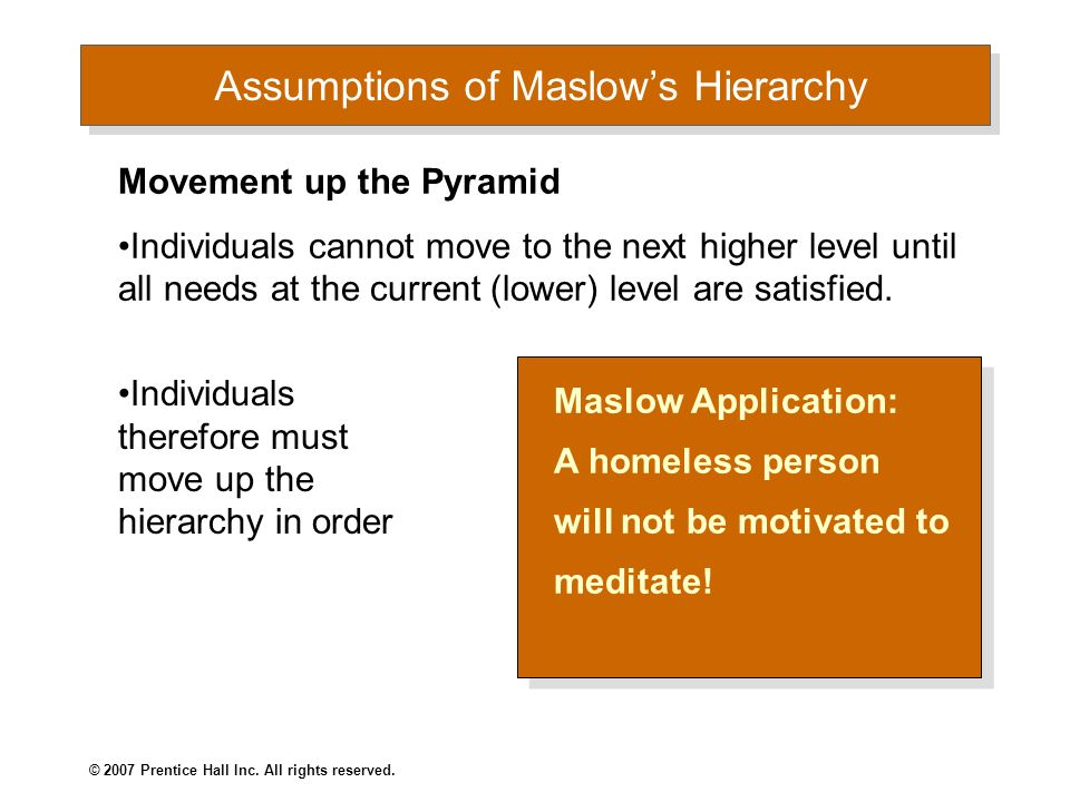 Assumptions of Maslow's Hierarchy