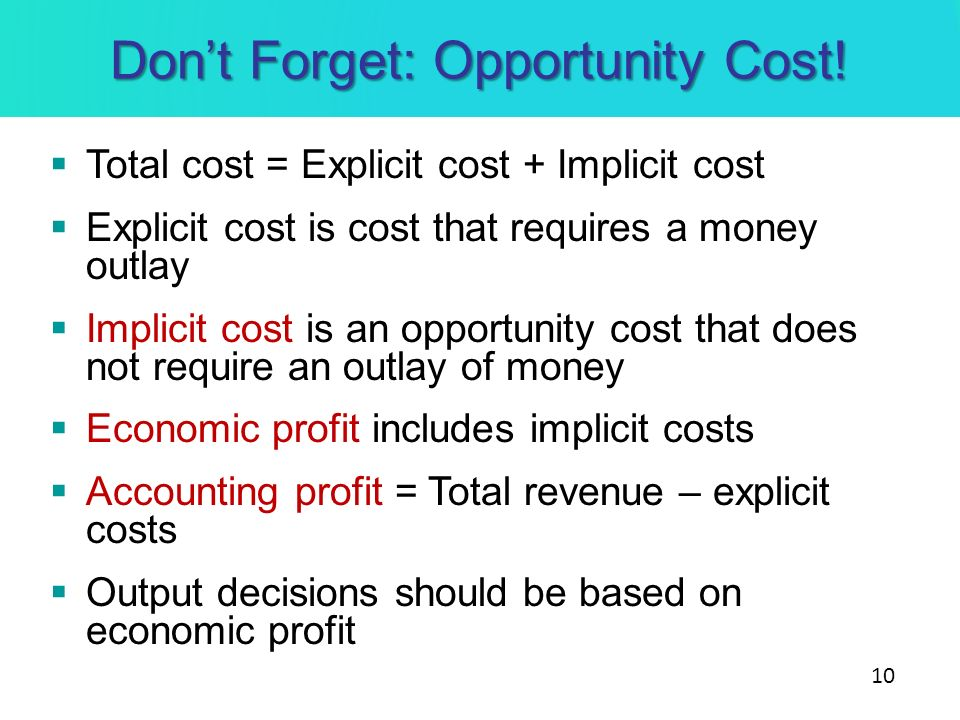 Don't Forget: Opportunity Cost!
