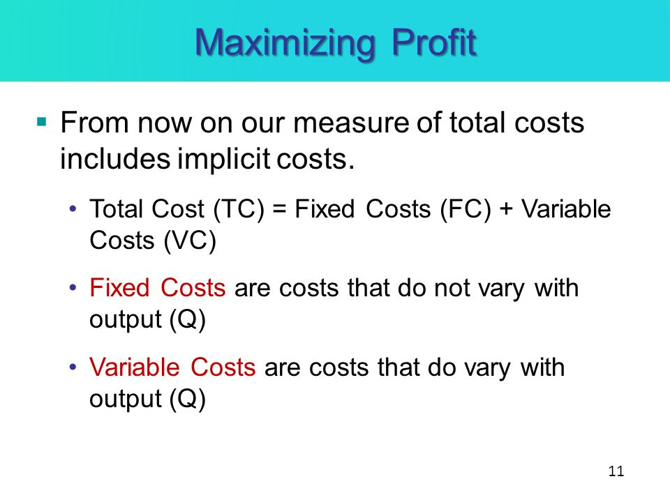 Maximizing Profit From now on our measure of total costs includes implicit costs. Total Cost (TC) = Fixed Costs (FC) + Variable Costs (VC)