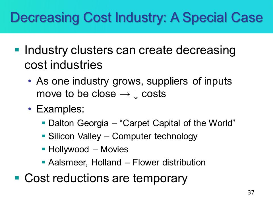 Decreasing Cost Industry: A Special Case