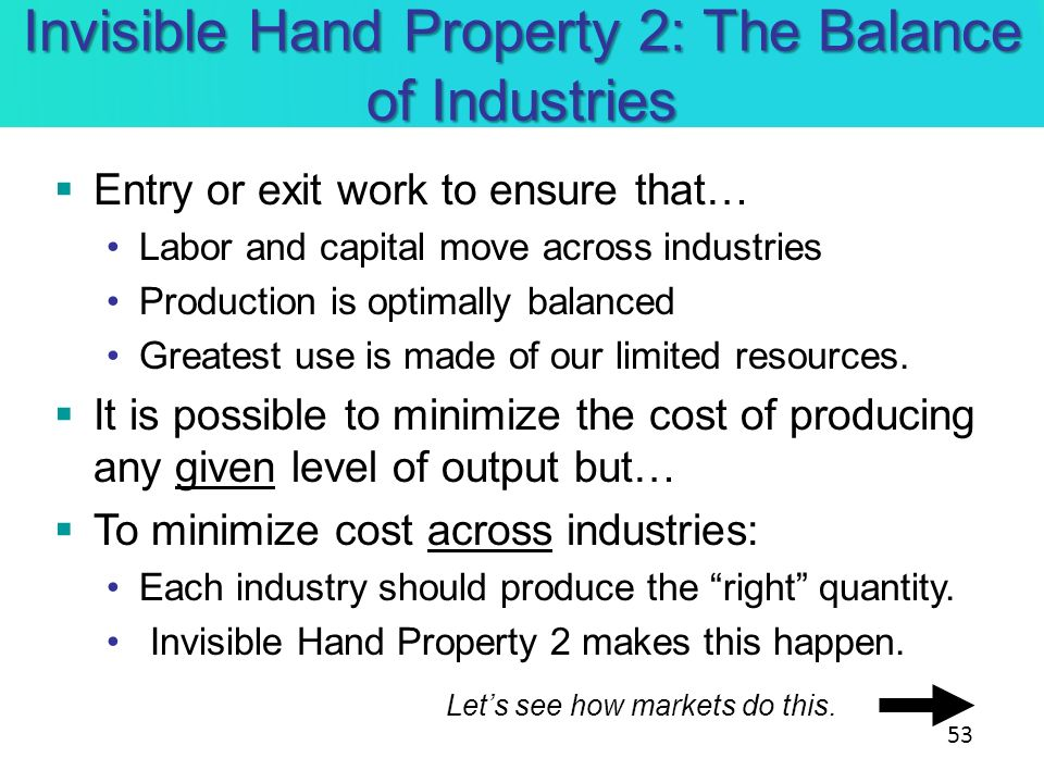 Invisible Hand Property 2: The Balance of Industries