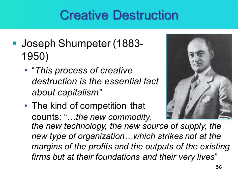 Creative Destruction Joseph Shumpeter (1883-1950)