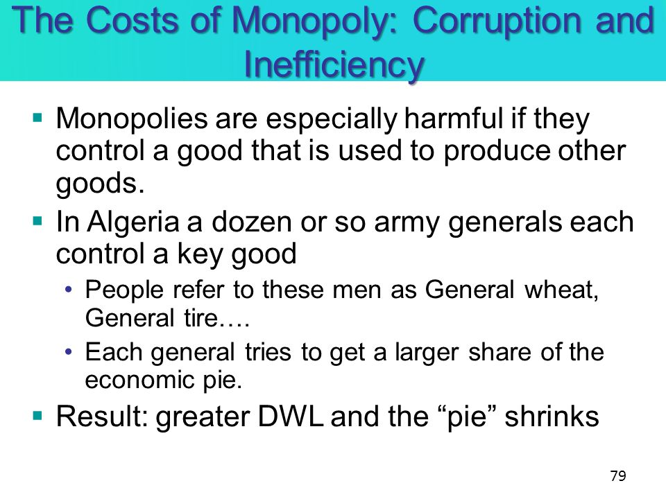 The Costs of Monopoly: Corruption and Inefficiency