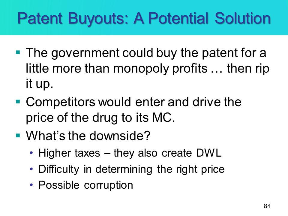 Patent Buyouts: A Potential Solution