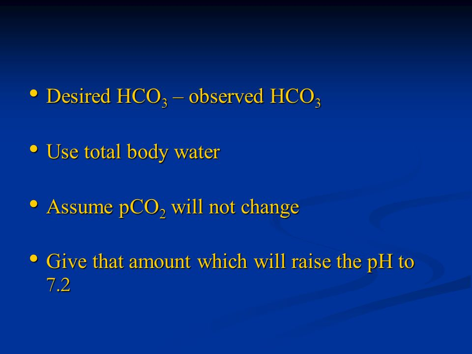 Desired HCO3 – observed HCO3