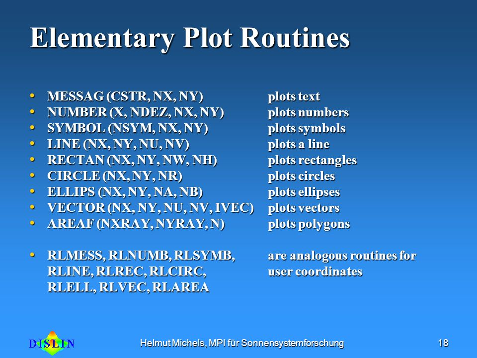 Elementary Plot Routines