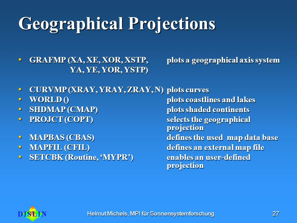 Geographical Projections