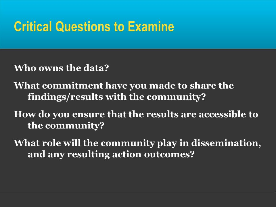 Critical Questions to Examine