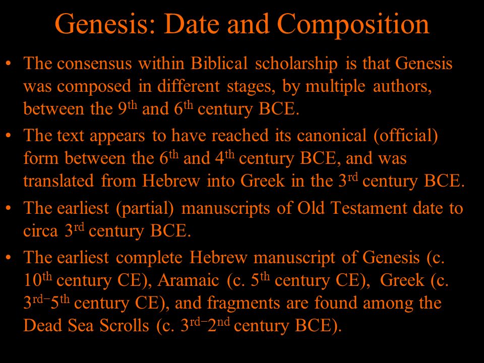 Genesis: Date and Composition